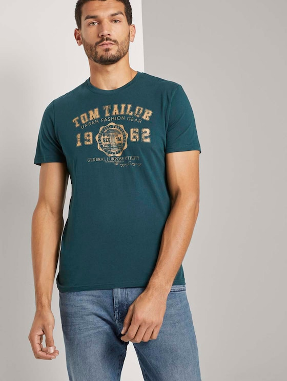 T-Shirt mit Logo-Print - Männer - Deep Green Lake - 5 - TOM TAILOR