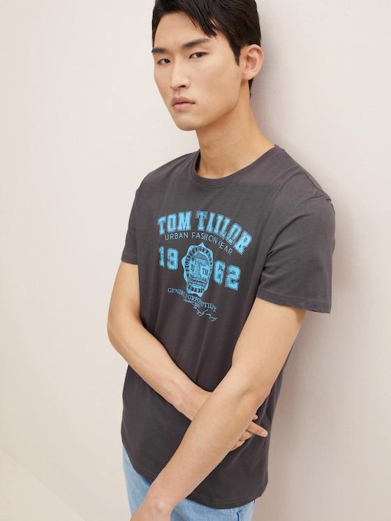 T-shirt with logo print - Men - Tarmac Grey - 5 - TOM TAILOR