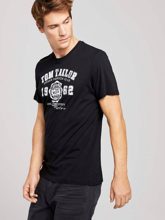T-Shirt mit Logo-Print - Männer - Almost Black - 5 - TOM TAILOR