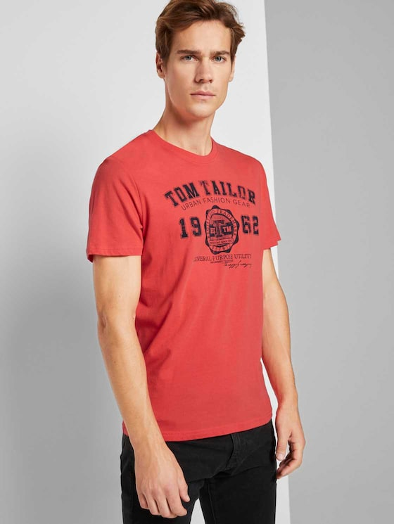 T-Shirt mit Logo-Print - Männer - Plain Red - 5 - TOM TAILOR