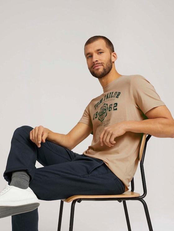 T-Shirt mit Logo-Print - Männer - Sandy Beige - 5 - TOM TAILOR