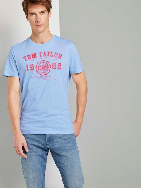 T-Shirt mit Logo-Print - Männer - Light Metal Blue - 5 - TOM TAILOR