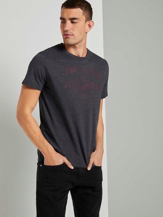 T-Shirt mit Logo-Print - Männer - black white melange - 5 - TOM TAILOR