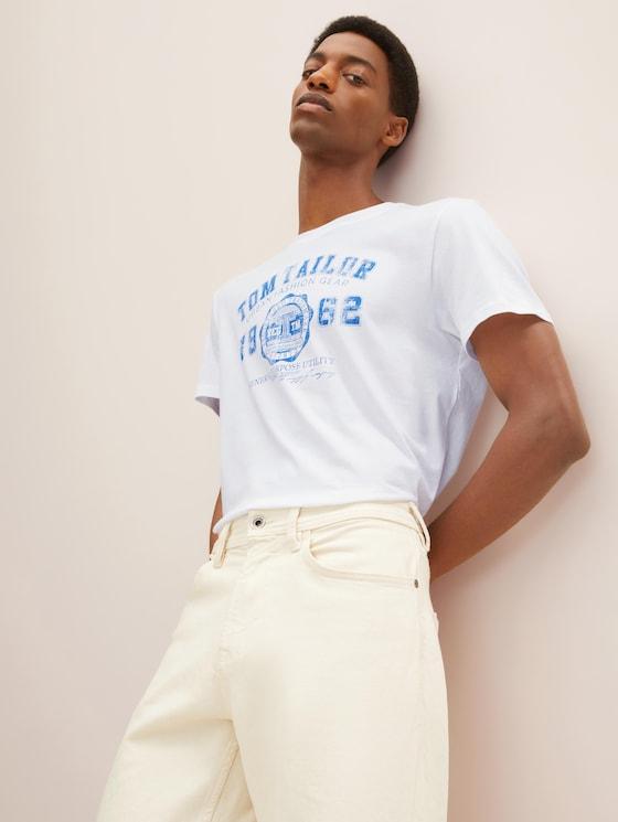 T-Shirt mit Logo-Print - Männer - White - 5 - TOM TAILOR