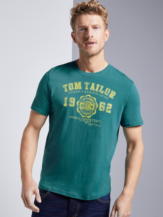 T-Shirt mit Logo-Print - Männer - ever green - 5 - TOM TAILOR
