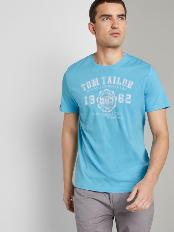 T-Shirt mit Logo-Print - Männer - crystal sea blue - 5 - TOM TAILOR
