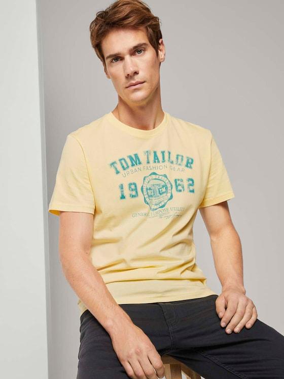 T-Shirt mit Logo-Print - Männer - pale straw yellow - 5 - TOM TAILOR