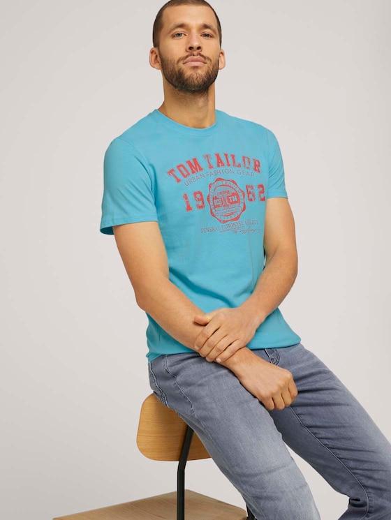 T-Shirt mit Logo-Print - Männer - teal radiance - 5 - TOM TAILOR