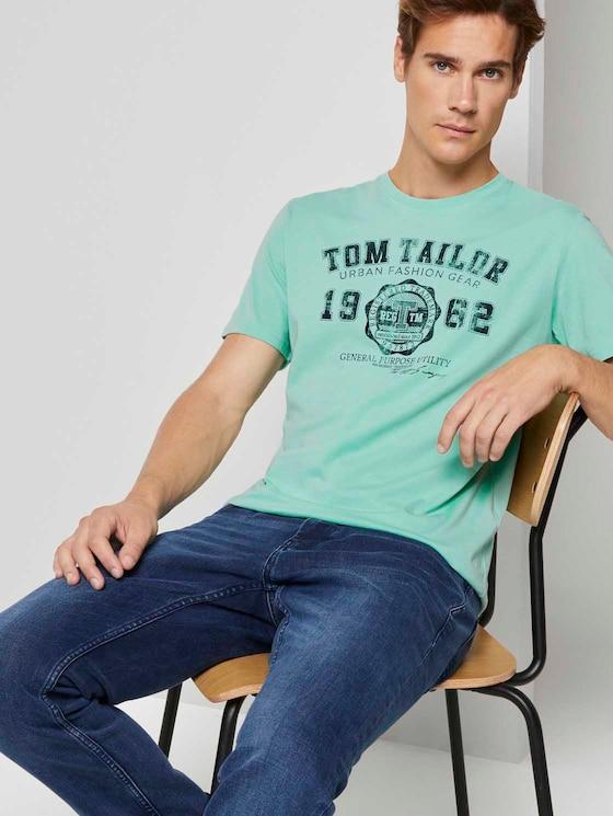 T-Shirt mit Logo-Print - Männer - soft jade - 5 - TOM TAILOR