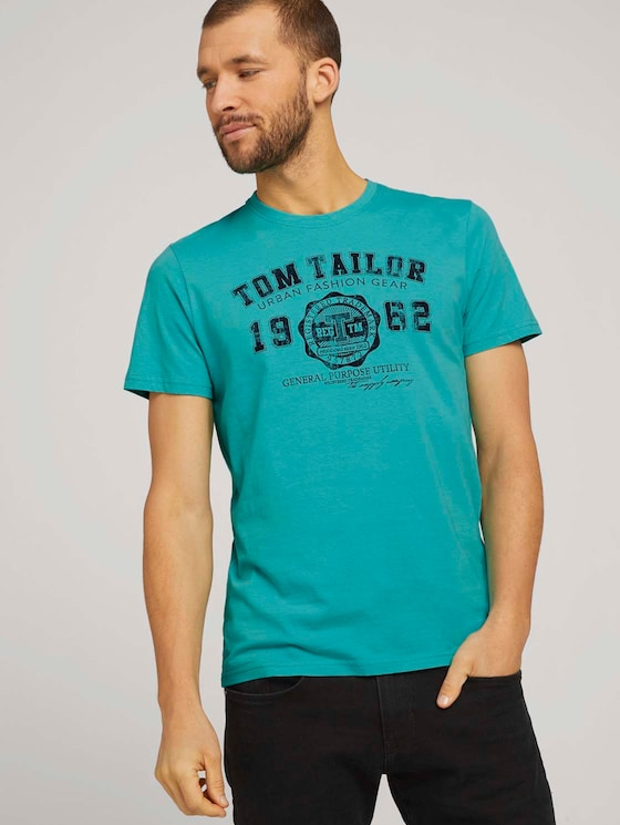 T-Shirt mit Logo-Print - Männer - dusty aqua - 5 - TOM TAILOR