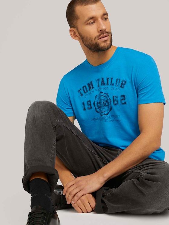 T-Shirt mit Logo-Print - Männer - diva blue white melange - 5 - TOM TAILOR