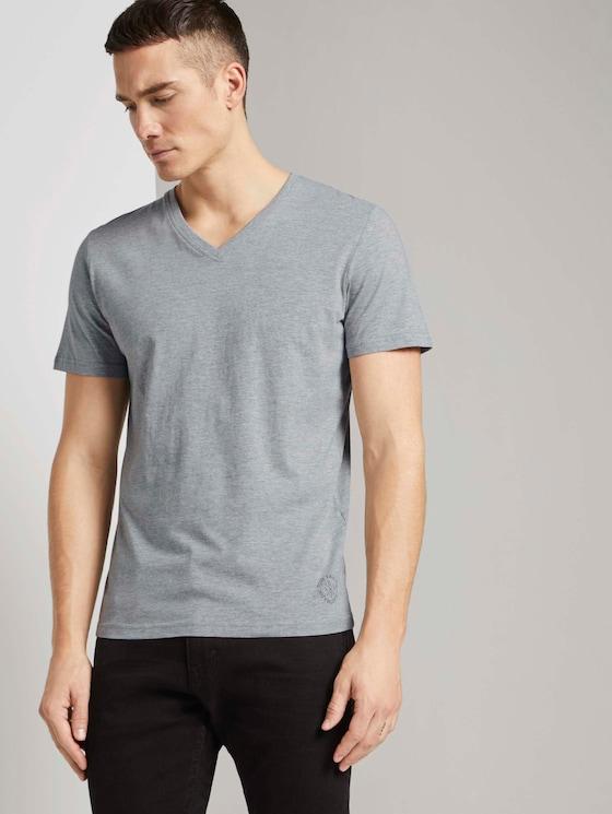 Doppelpack T-Shirt - Männer - Middle Grey Melange - 5 - TOM TAILOR