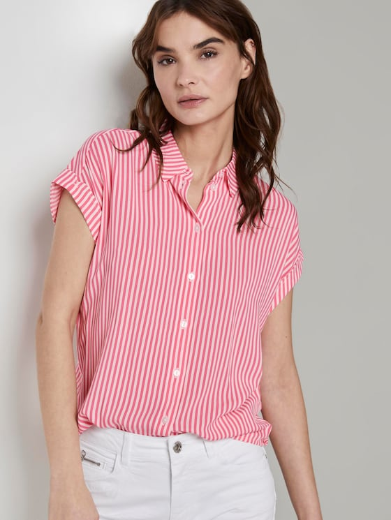 Gestreepte blouse - Vrouwen - pink offwhite stripes - 5 - TOM TAILOR