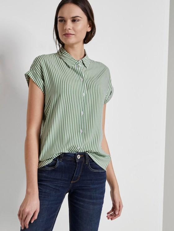 Gestreepte blouse - Vrouwen - green offwhite stripes - 5 - TOM TAILOR