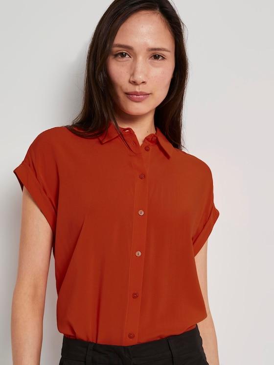 Kurzärmlige Bluse mit Kent-Kragen - Frauen - strong flame orange - 5 - TOM TAILOR