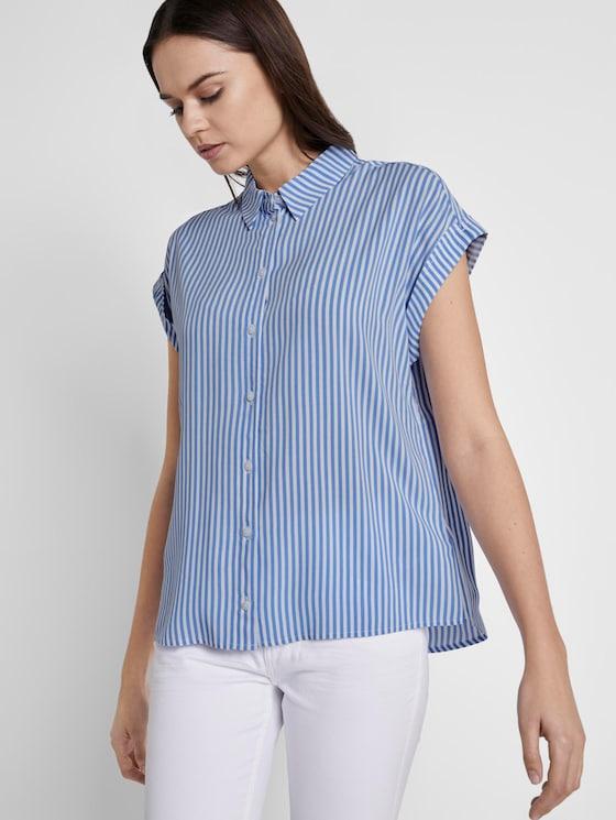 Kurzärmlige Bluse mit Kent-Kragen - Frauen - stripe vertical blue - 5 - TOM TAILOR
