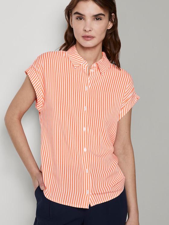 Kurzärmlige Bluse mit Kent-Kragen - Frauen - offwhite melon stripe - 5 - TOM TAILOR