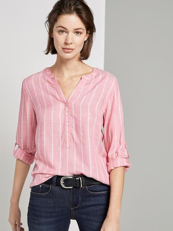 Strukturierte Bluse - Frauen - pink vertical striped - 5 - TOM TAILOR