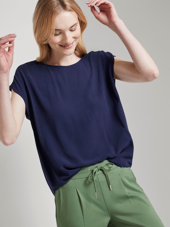 Top with a keyhole-hole cut-out on the back - Women - True Dark Blue - 5 - TOM TAILOR Denim
