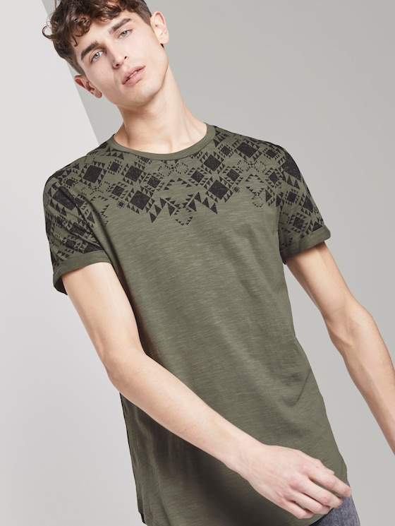 Gemustertes T-Shirt - Männer - Dusty Olive Green - 5 - TOM TAILOR Denim