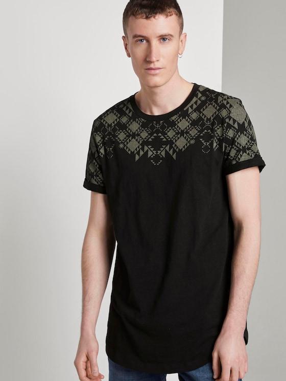 Gemustertes T-Shirt - Männer - Black - 5 - TOM TAILOR Denim
