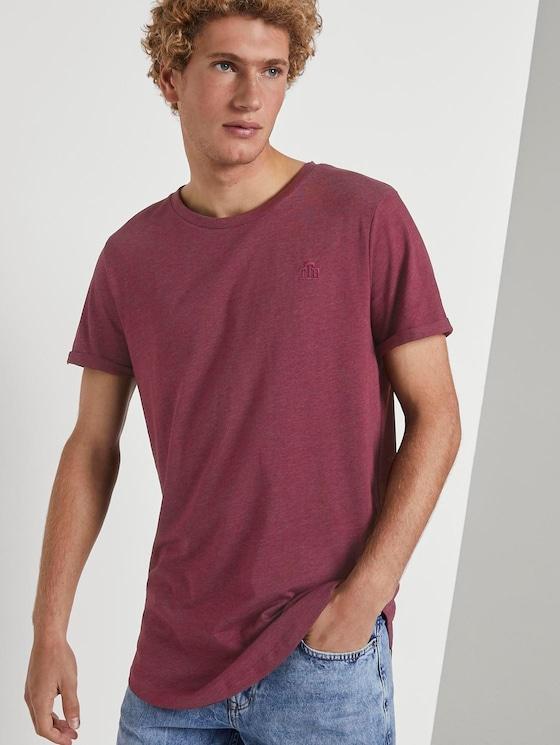 T-Shirt mit Logo-Stickerei - Männer - Deep Burgundy Melange - 5 - TOM TAILOR Denim