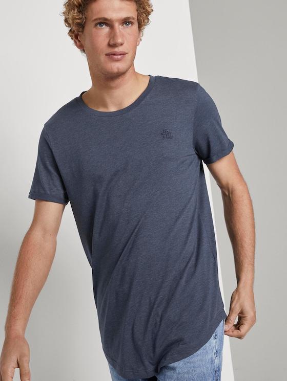 T-shirt met logoborduurwerk - Mannen - Agate Stone Blue Melange - 5 - TOM TAILOR Denim