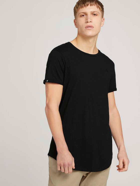 T-Shirt mit Logo-Stickerei - Männer - Black - 5 - TOM TAILOR Denim
