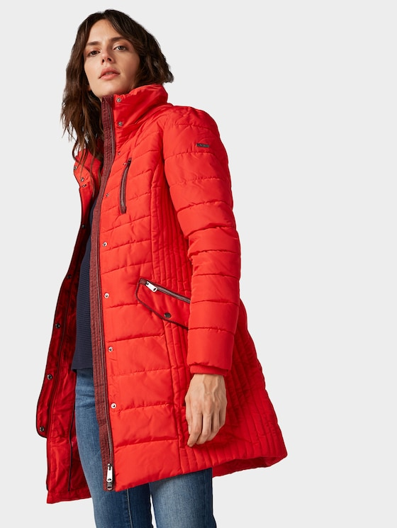 Hybridmantel mit Kapuze  - Frauen - brilliant red - 5 - TOM TAILOR