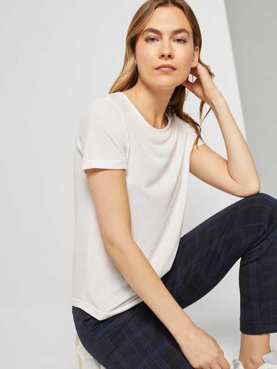 T-Shirt mit Schnürung - Frauen - Whisper White - 5 - TOM TAILOR