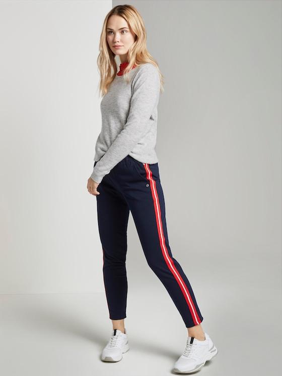 Jogging bottoms with satin stripes - Women - Real Navy Blue - 3 - TOM TAILOR Denim