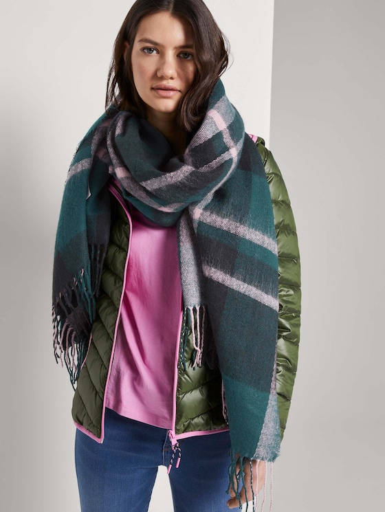 Checked shawl with fringes - Women - green herringbone check - 5 - TOM TAILOR Denim