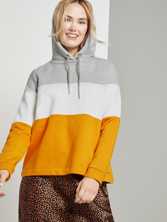 Hoody with colour blocking - Women - yellow coloblock - 5 - TOM TAILOR Denim