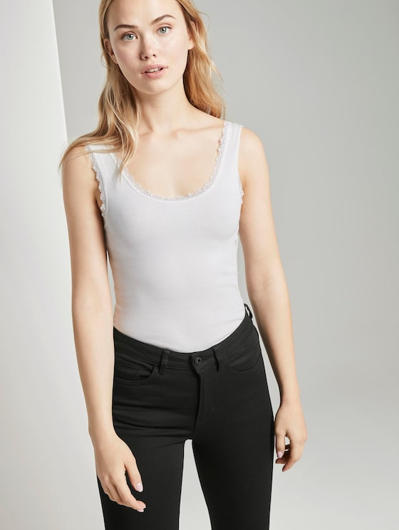 Top with lace details - Women - Off White - 5 - TOM TAILOR Denim