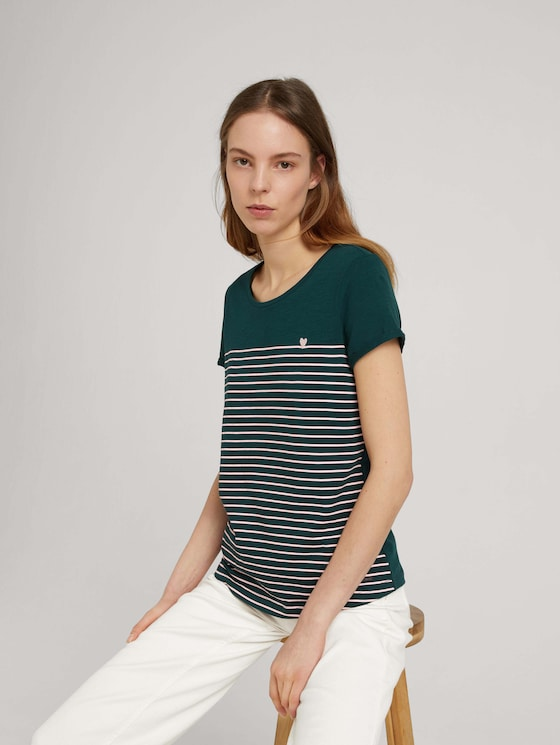 Gestreiftes T-Shirt - Frauen - green rose stripe - 5 - TOM TAILOR Denim