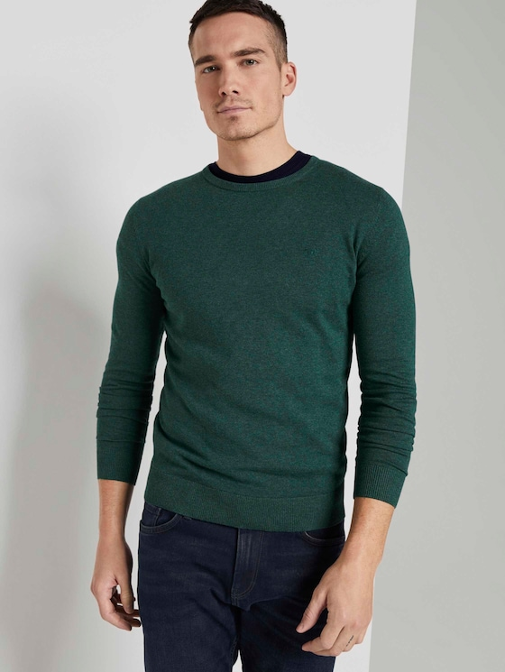 Schlichter Strickpullover - Männer - Midnight Forest Green Mélange - 5 - TOM TAILOR