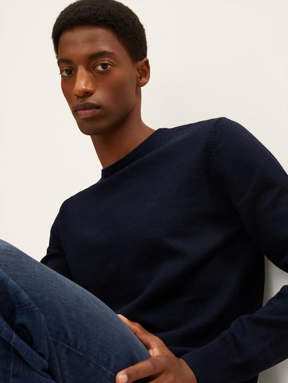 Schlichter Strickpullover - Männer - Knitted Navy Melange - 5 - TOM TAILOR