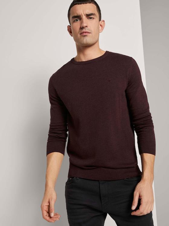 Simple knitted jumper - Men - dark brown melange - 5 - TOM TAILOR
