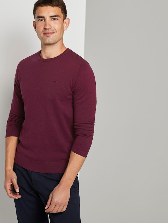 Schlichter Strickpullover - Männer - wine red melange - 5 - TOM TAILOR