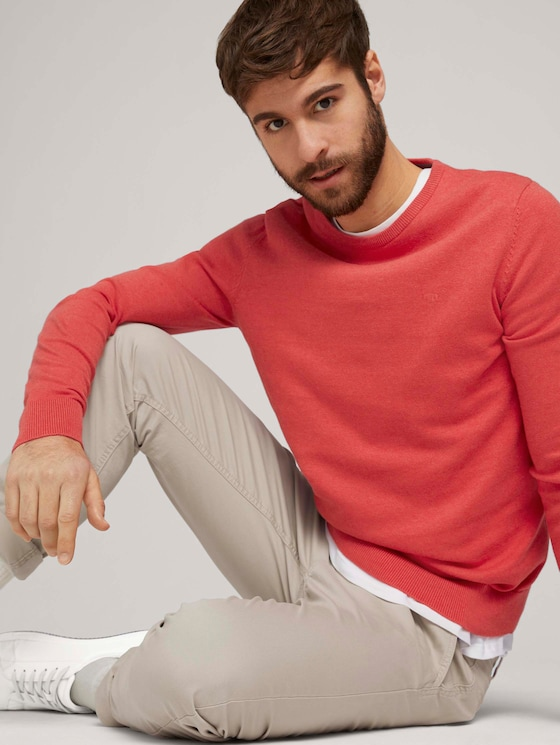 Simple knitted jumper - Men - coral melange - 5 - TOM TAILOR
