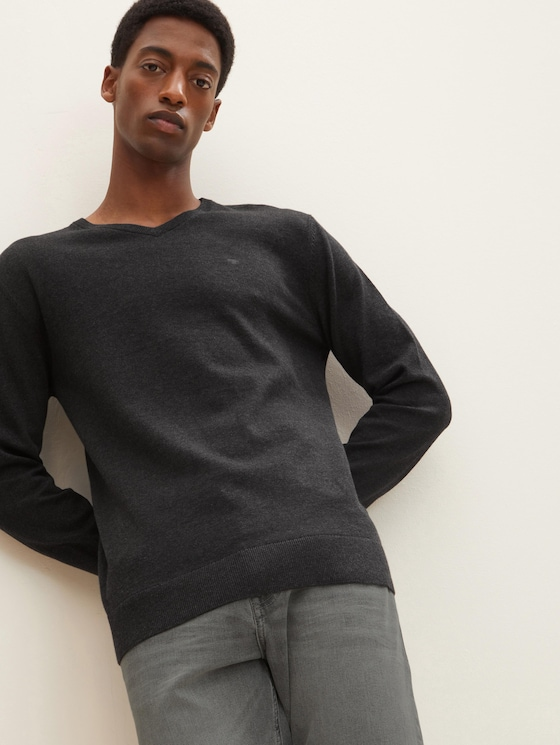 Basic Strickpullover - Männer - Black Grey Melange - 5 - TOM TAILOR