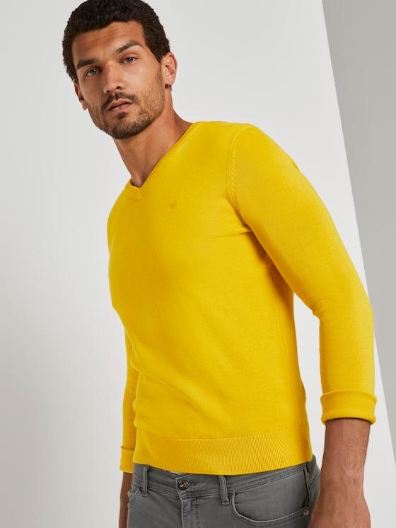 Basic Strickpullover - Männer - Californian-Yellow - 5 - TOM TAILOR