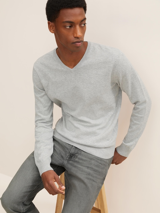 Basic Strickpullover - Männer - Light Soft Grey Melange - 5 - TOM TAILOR