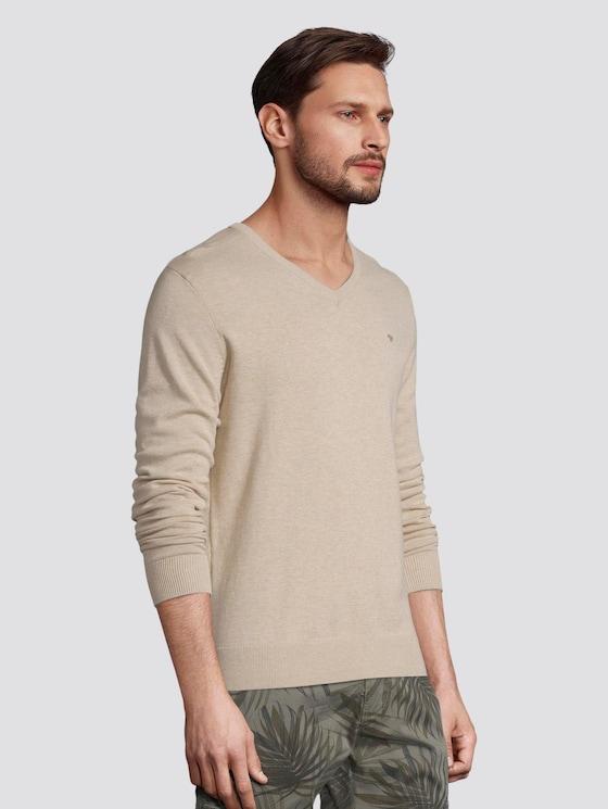 Basic Strickpullover - Männer - beige dark melange - 5 - TOM TAILOR