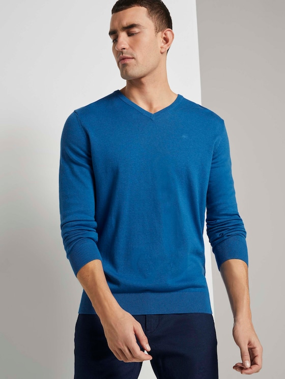 Basic Strickpullover - Männer - bright blue melange - 5 - TOM TAILOR