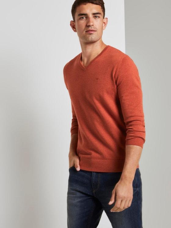 Basic Strickpullover - Männer - heated orange melange - 5 - TOM TAILOR