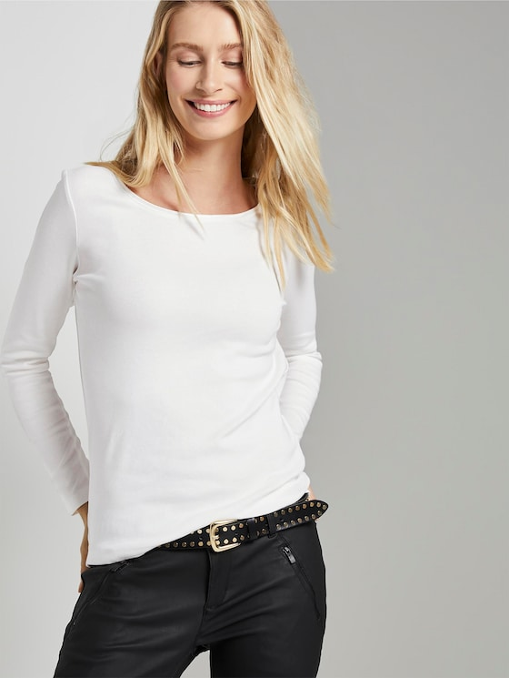 Basic long-sleeved shirt - Women - Whisper White - 5 - TOM TAILOR