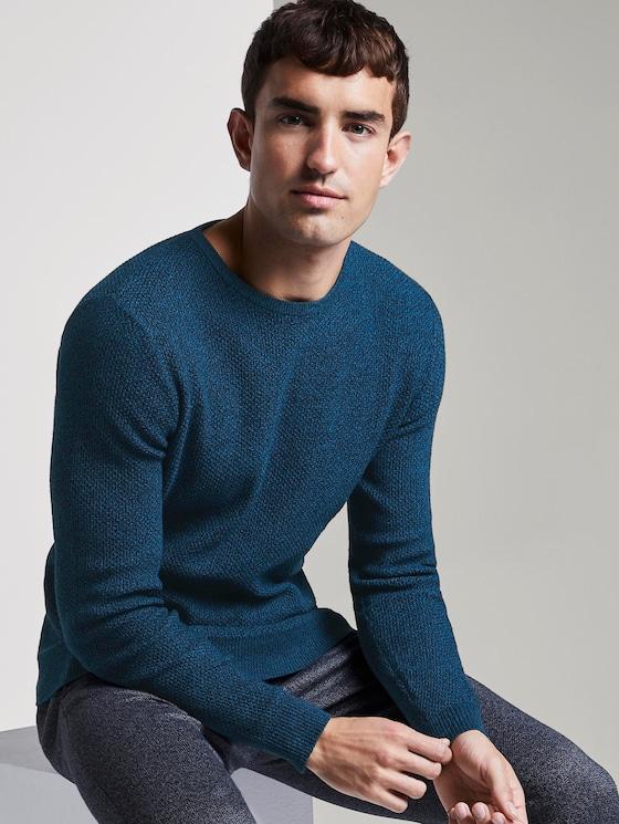 Structured knitted jumper - Men - petrol balck mouline - 5 - TOM TAILOR