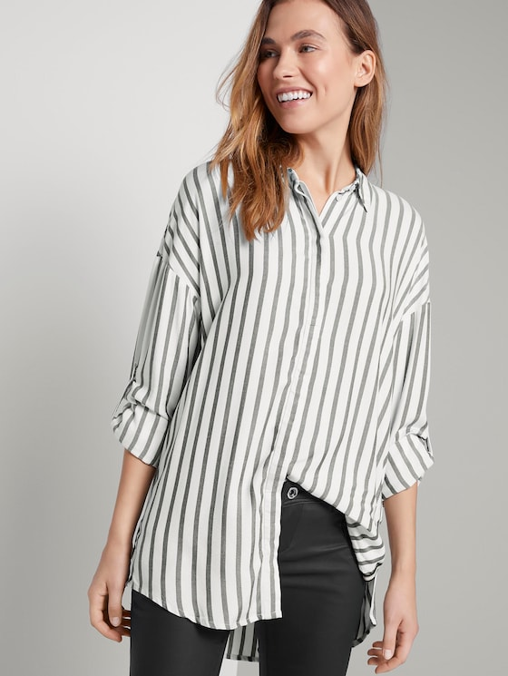 Blouse met tape detail - Vrouwen - offwhite grey stripe - 5 - TOM TAILOR