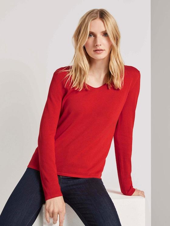 Pullover mit V-Ausschnitt - Frauen - Strong Red - 5 - TOM TAILOR